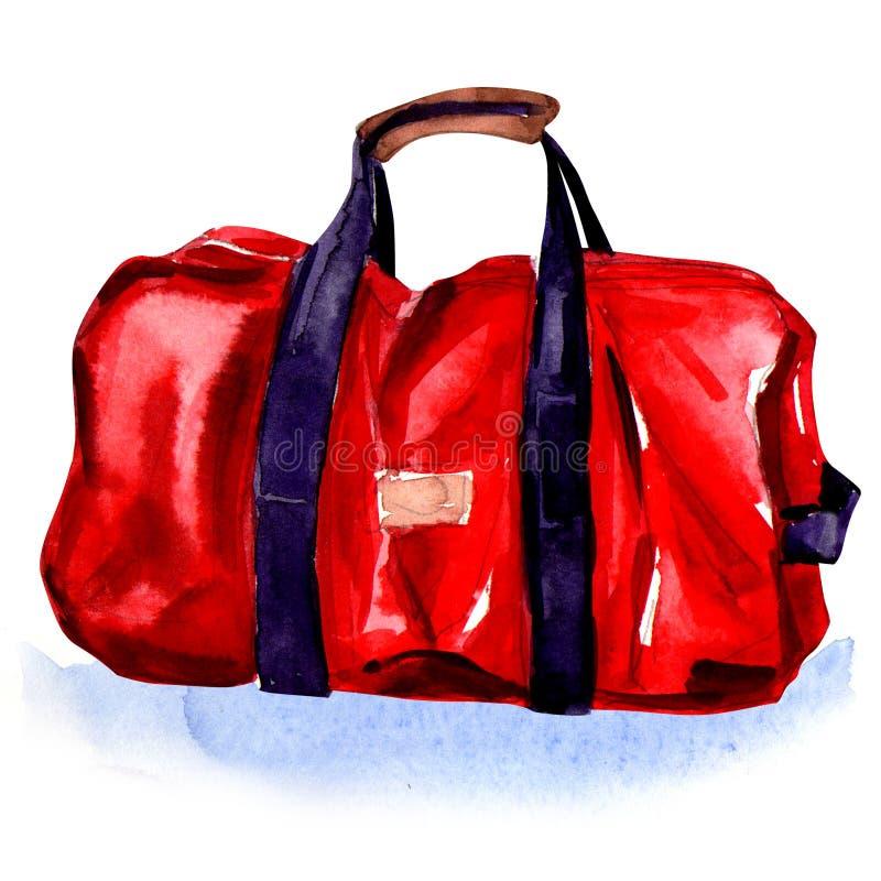 红色体育袋子 库存例证