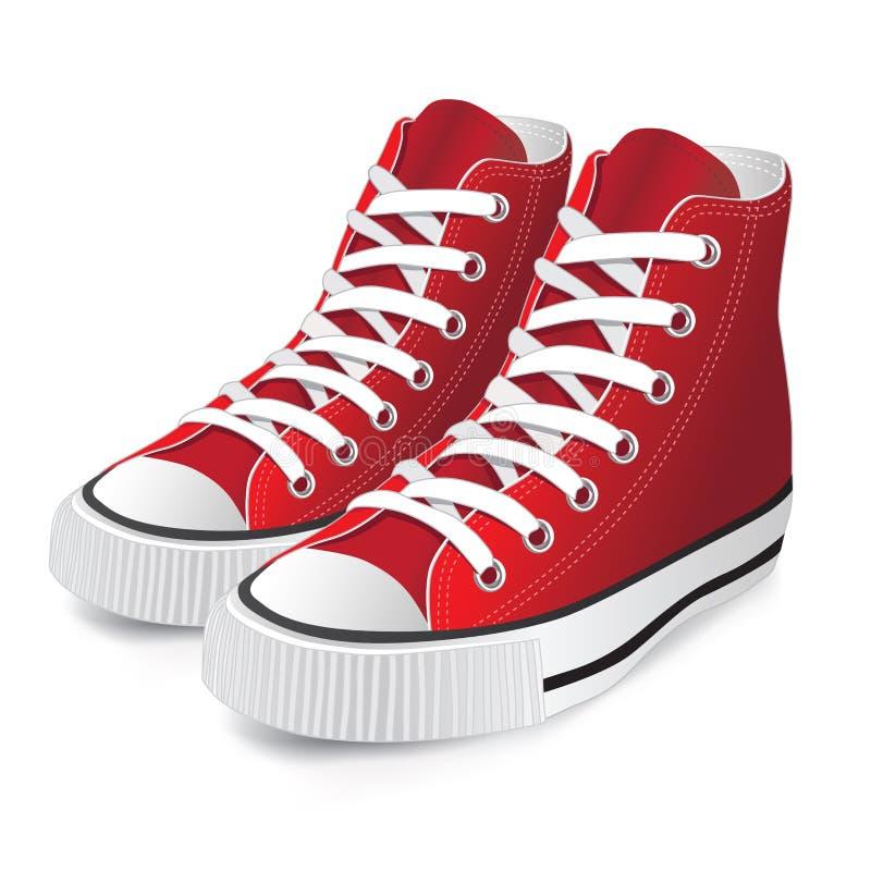 红色体育运动鞋子 向量例证