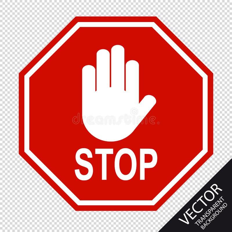红色停车牌和在透明背景-传染媒介例证-隔绝的手势 库存例证