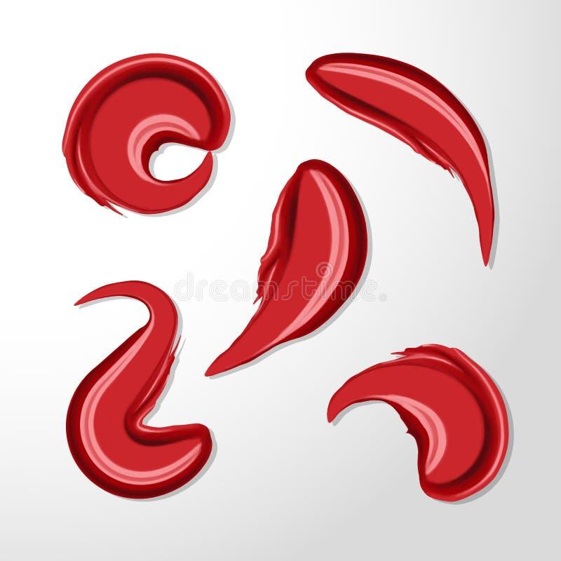 红色光滑的唇膏污迹集合,被弄脏的弯曲 构成样品、用途广告飞行物的,横幅、小册子和小册子 皇族释放例证