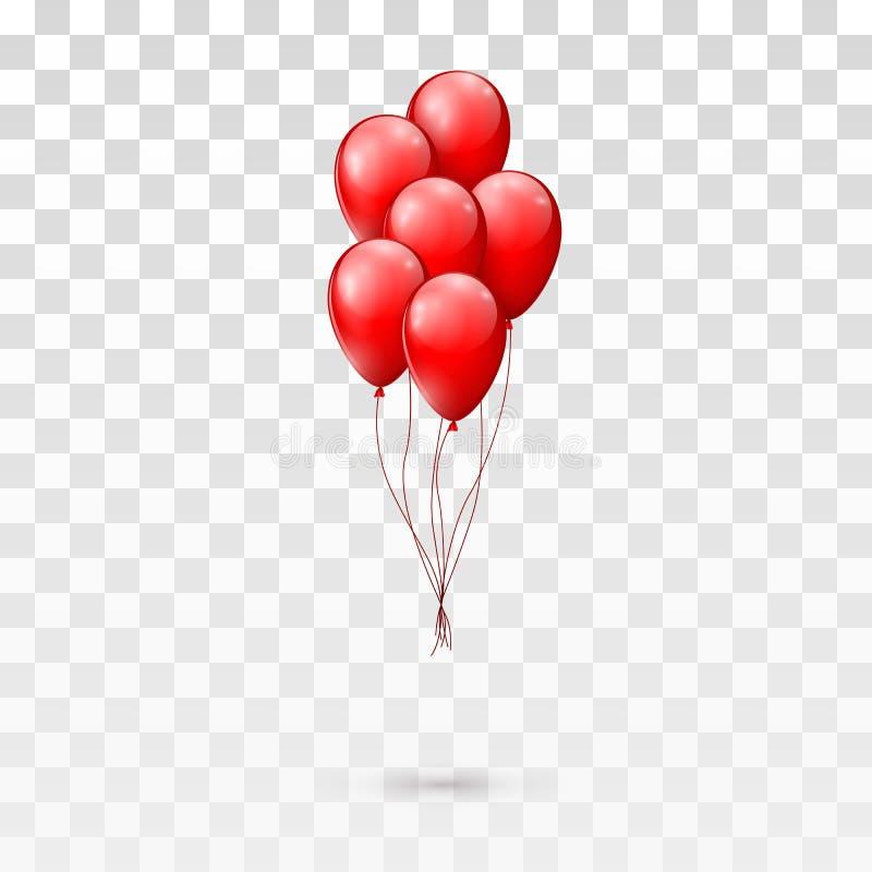 红色光滑的气球束 在透明背景隔绝的例证 库存例证