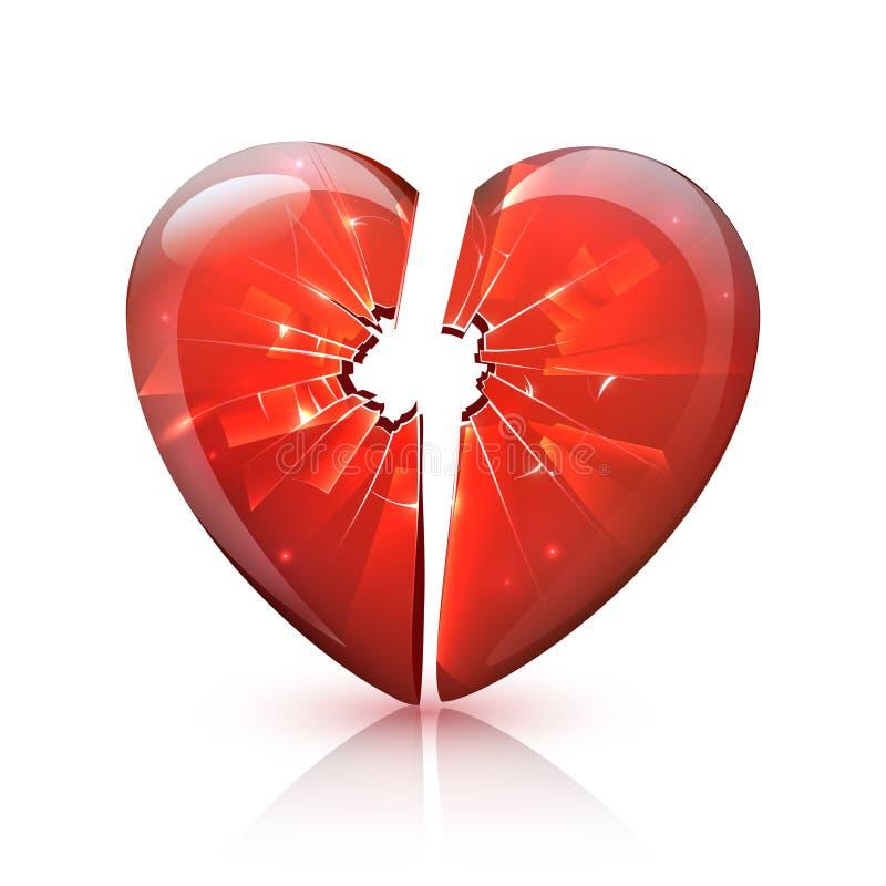 红色光滑的打破的玻璃心脏象 向量例证