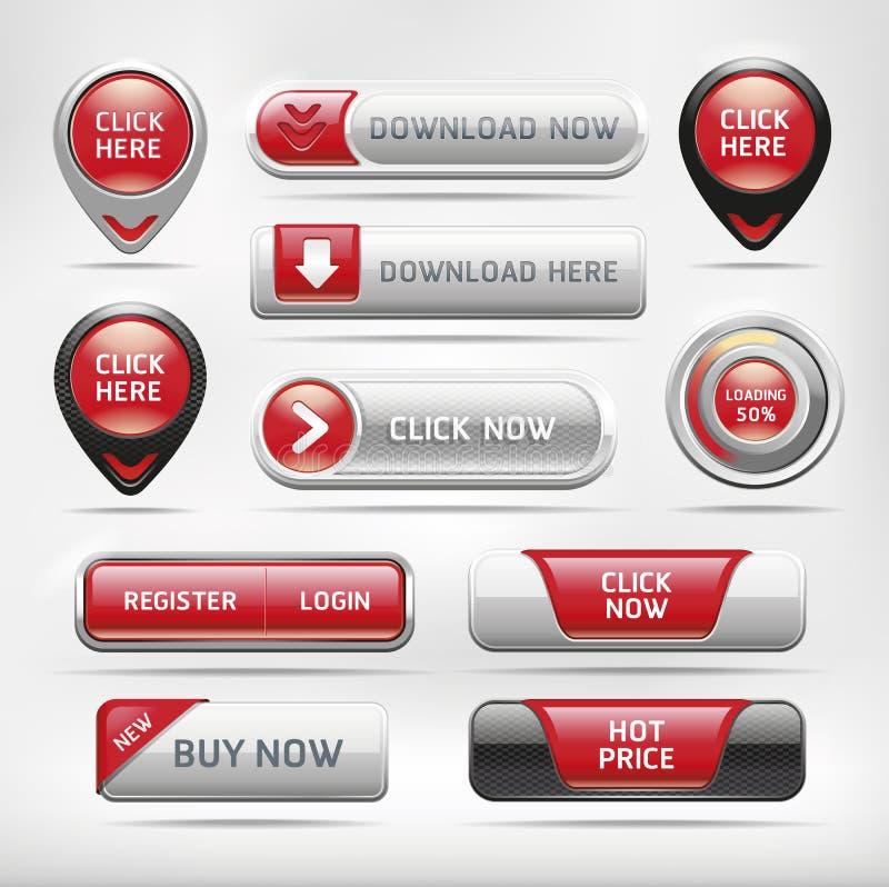 红色光滑的网按钮集合。 库存例证