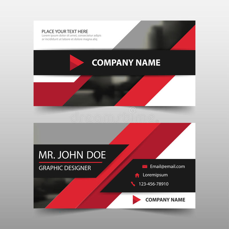 红色公司业务卡片,名片模板,水平的简单的干净的布局设计模板,企业横幅模板 皇族释放例证