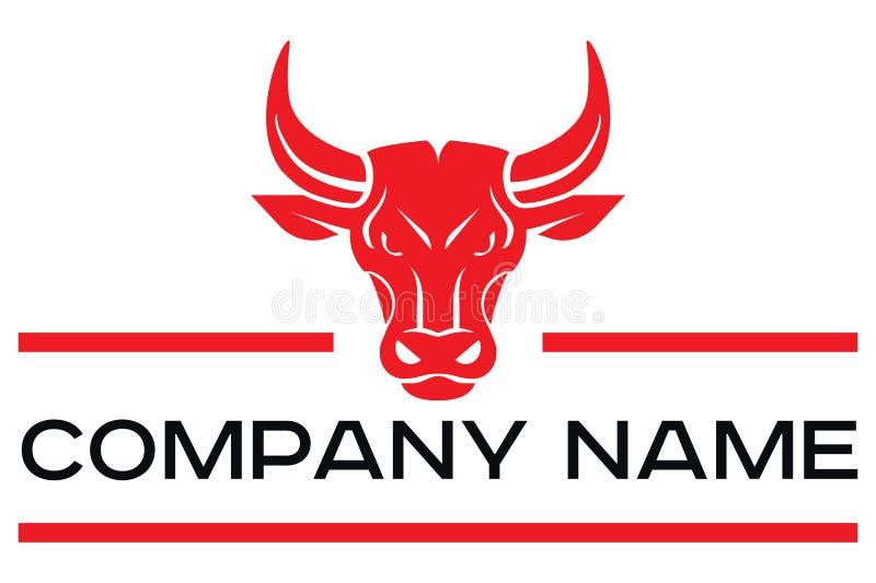 红色公牛头传染媒介商标  库存例证