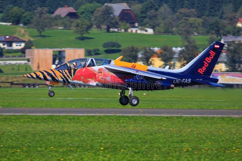 红色公牛阿尔法喷气机 图库摄影