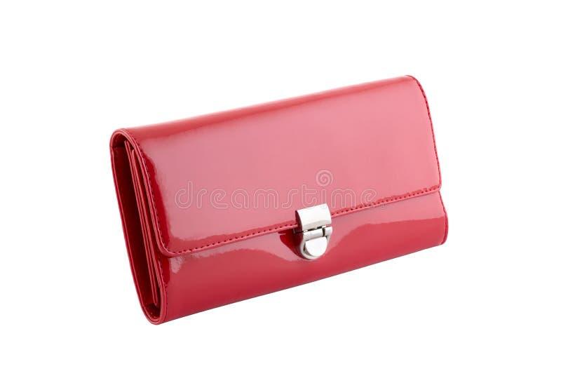 红色典雅的皮革钱包 库存图片