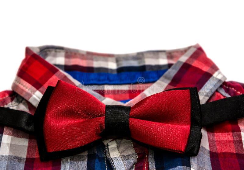 红色典雅的蝴蝶和衬衣人的 免版税库存照片