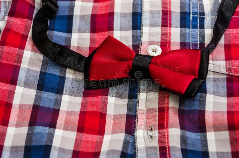 红色典雅的蝴蝶和衬衣人的 免版税图库摄影