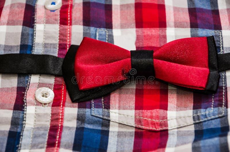 红色典雅的蝴蝶和衬衣人的 库存照片