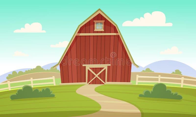 红色农厂谷仓 库存例证