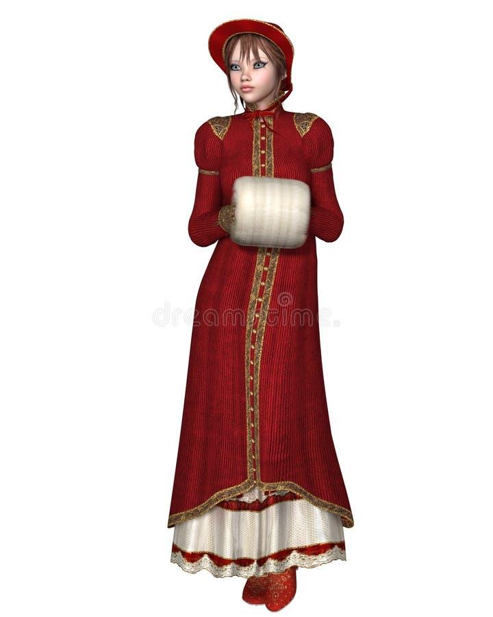 红色冬天外套的摄政女孩 向量例证