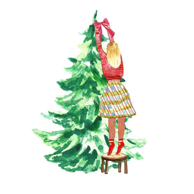 红色冬天毛线衣装饰的圣诞节和新年云杉的树的女孩与红色轻便短大衣弓 皇族释放例证