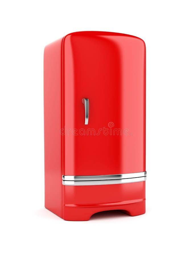 红色冰箱翻译,隔绝在白色背景 向量例证
