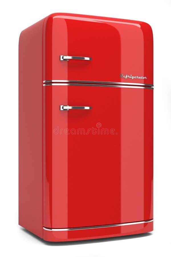 红色减速火箭的冰箱 皇族释放例证
