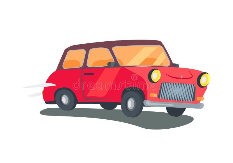红色减速火箭的双门小型客车传染媒介象  向量例证