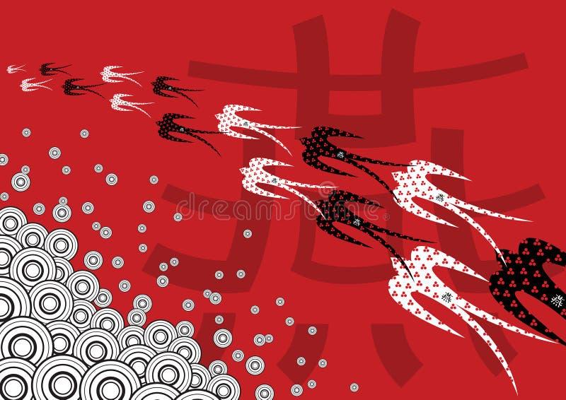 红色减速火箭的燕子 皇族释放例证