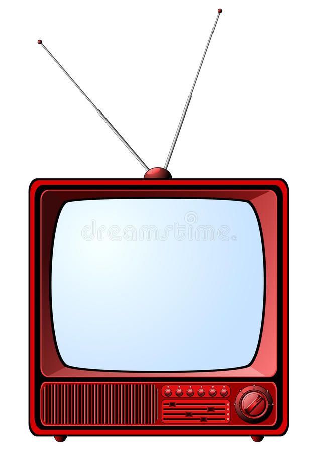 红色减速火箭的电视 库存例证