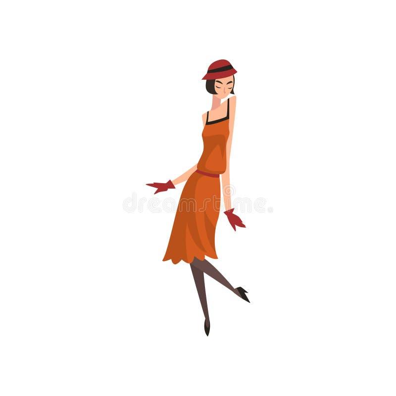 红色减速火箭的礼服、帽子、长袜和手套的,20世纪20年代的美丽的插板女孩,装饰艺术运动样式传染媒介端庄的妇女 皇族释放例证