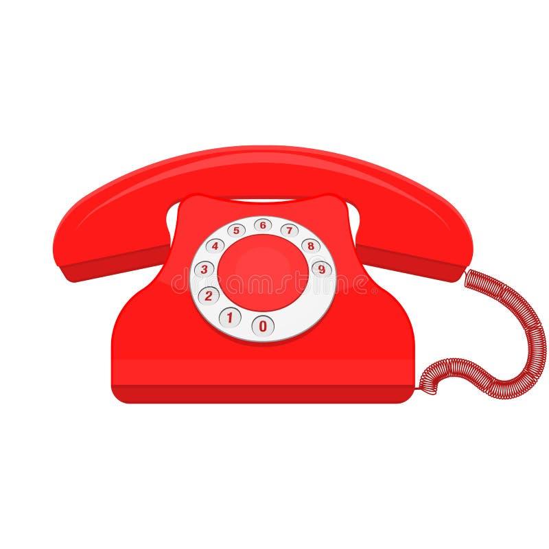 红色减速火箭的老电话电话传染媒介 向量例证