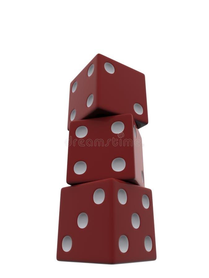 红色切成小方块 库存例证