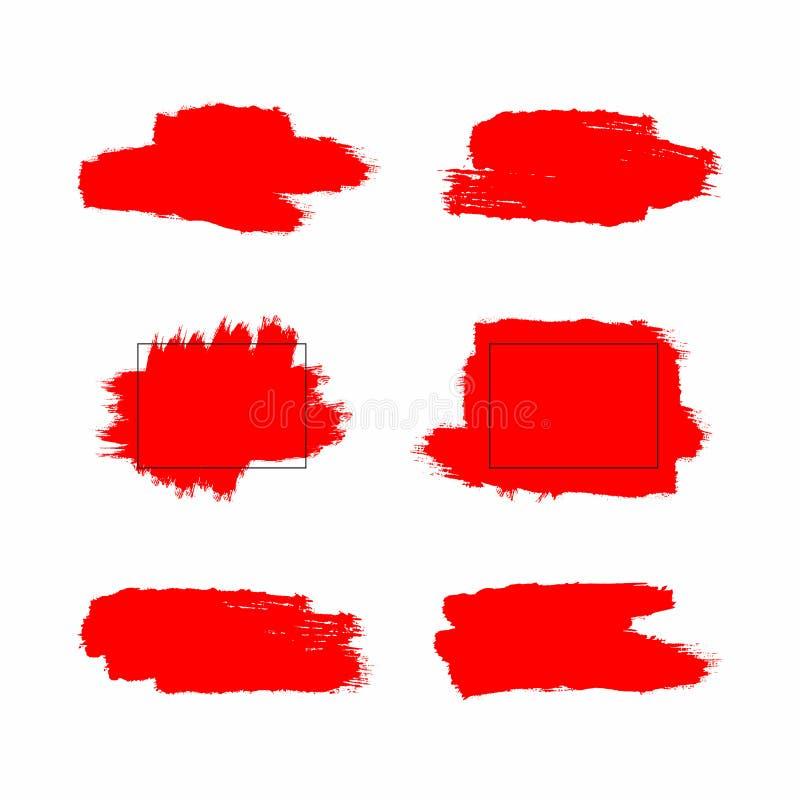 红色刷子冲程和油漆污点与长方形框架 设置难看的东西元素 水彩绘画的技巧纹理  向量例证