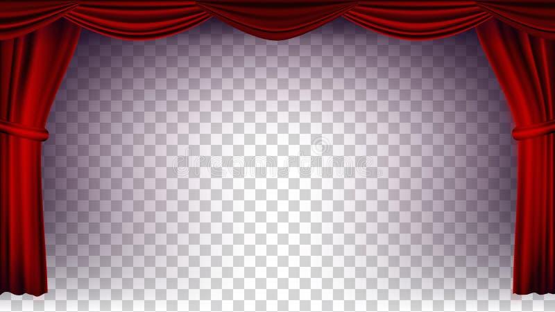 红色剧院帷幕传染媒介 透明的背景 音乐会、剧院、歌剧或者戏院空的丝绸阶段的海报,红色 库存例证