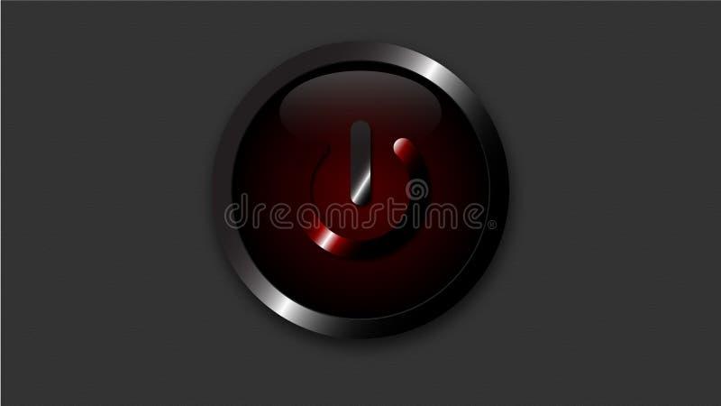 红色力量按钮3d传染媒介 皇族释放例证