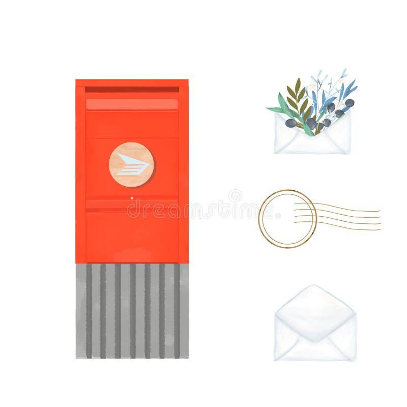 红色加拿大岗位邮箱水彩刷子例证 信件的葡萄酒剪贴美术现代城市箱子在白色背景 向量例证