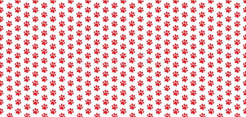 红色动物爪子的长方形无缝的样式在白色背景打印 向量例证
