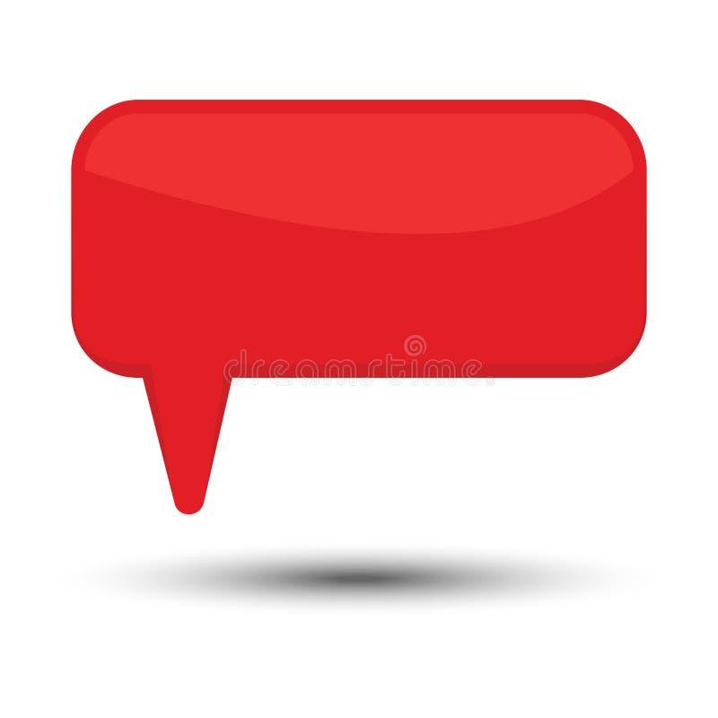 红色动画片可笑的气球讲话泡影没有词组和与阴影 库存例证