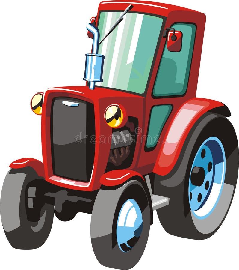 红色动画片拖拉机 库存例证