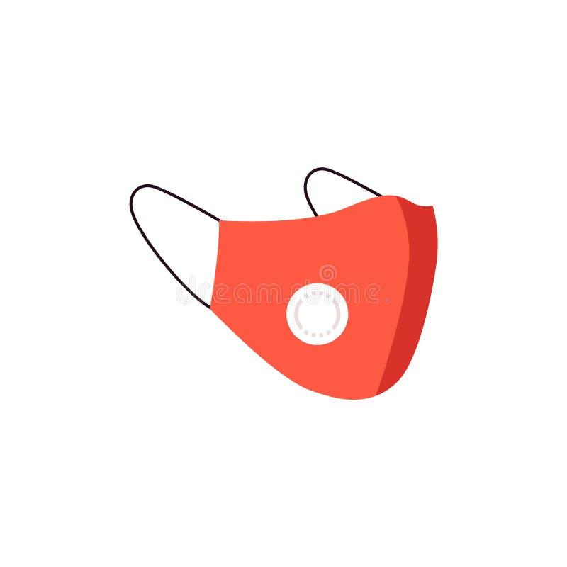 红色医疗与污染空气和尘土的面孔保护的尘土防毒面具n95 皇族释放例证