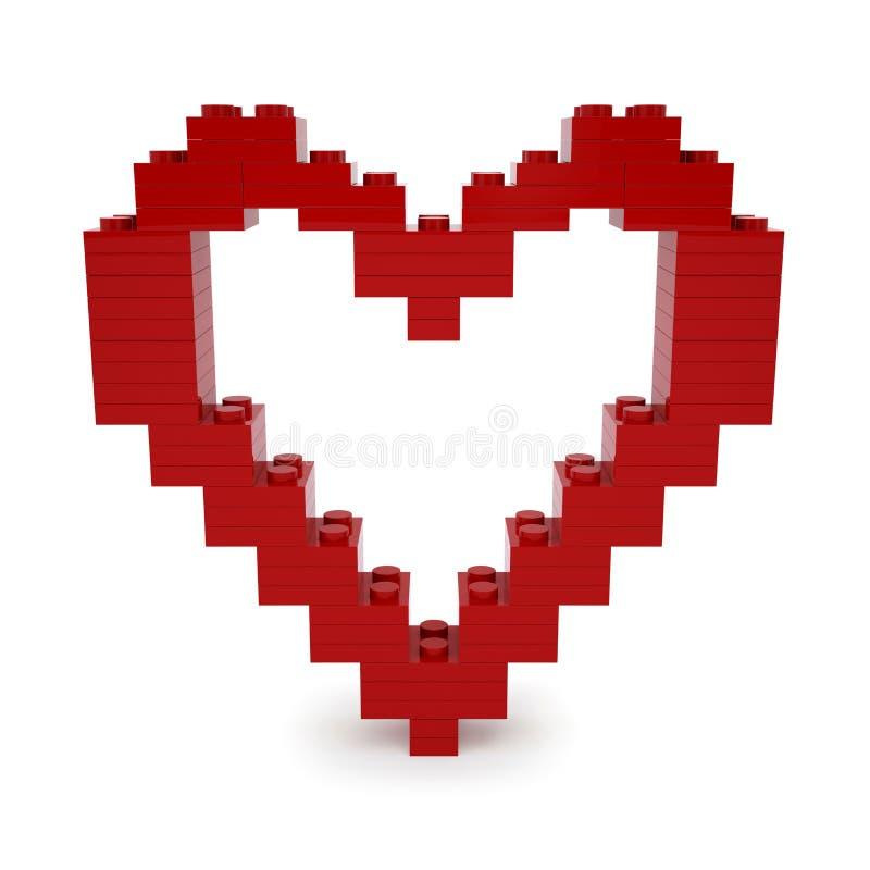 红色华伦泰心脏由乐高块做成 库存例证