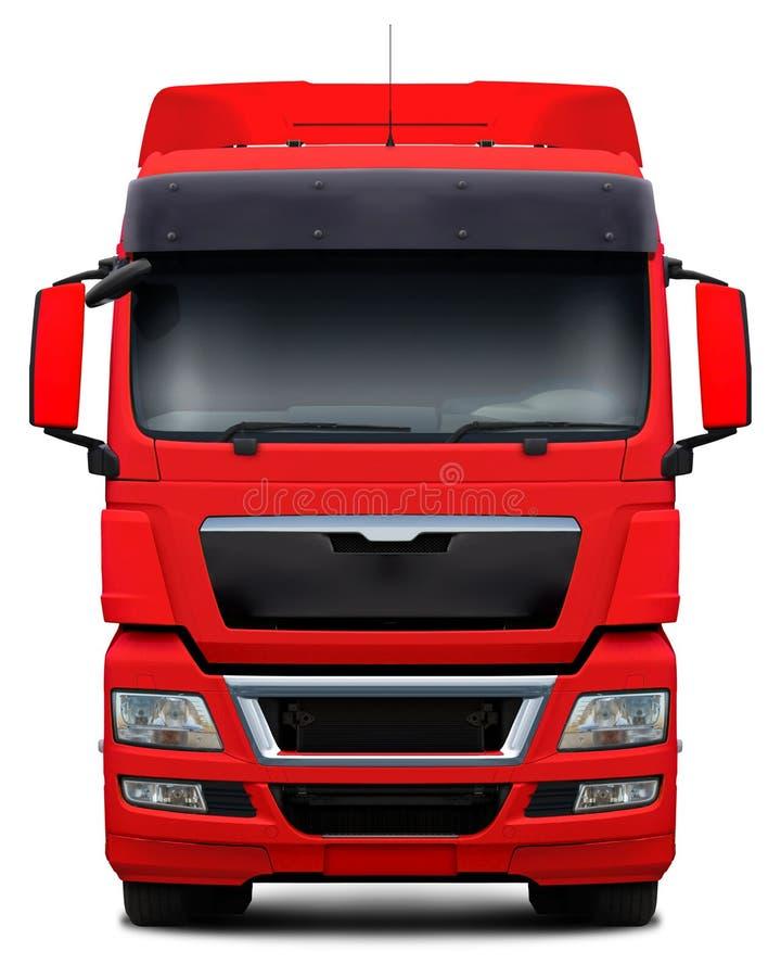红色卡车正面图 免版税图库摄影