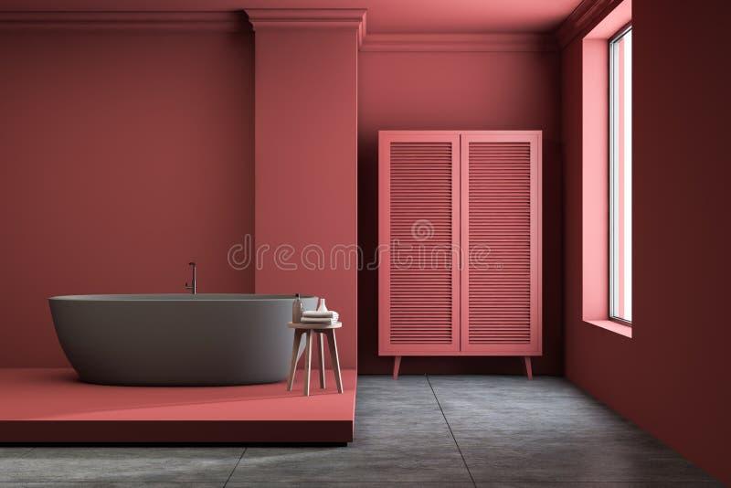 红色卫生间内部、木盆和衣橱 皇族释放例证