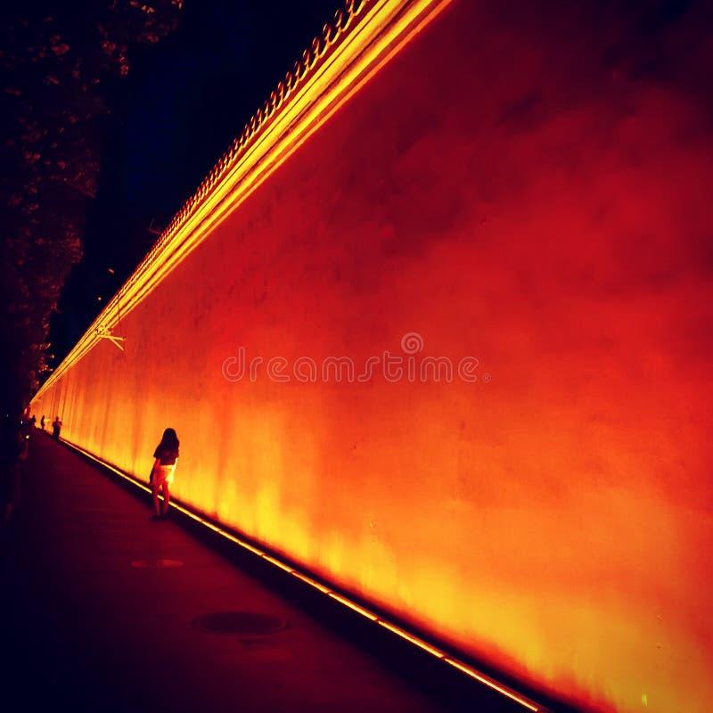 红色历史墙壁在天安门广场 免版税库存图片