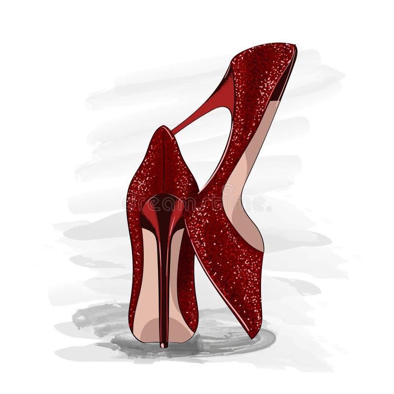 红色发光的脚跟鞋子 库存例证