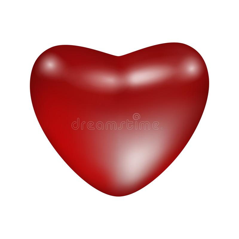 红色发光的表面无光泽的心脏 向量例证