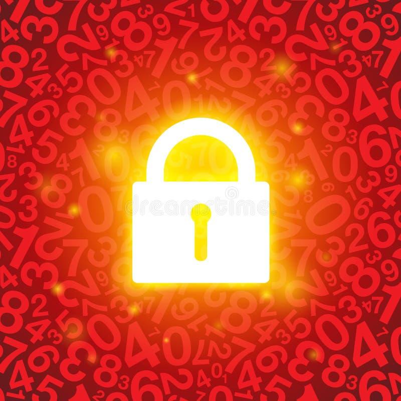 红色发光的锁 库存例证