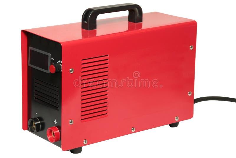 红色变换器焊接器,隔绝在白色背景 免版税库存图片