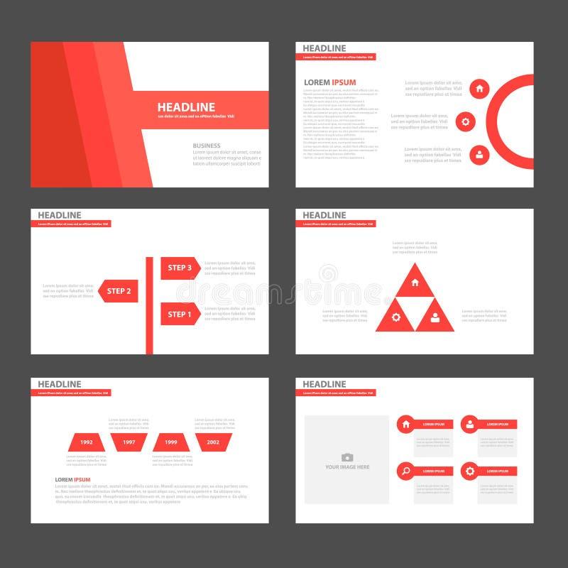 红色口气Infographic元素象介绍模板平的设计为给营销小册子飞行物做广告设置了 皇族释放例证