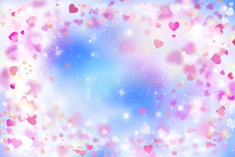 红色和桃红色心脏,情人节,例证,天空,蓝色,桃红色,白色,设计被弄脏的背景,美丽,言情, 向量例证