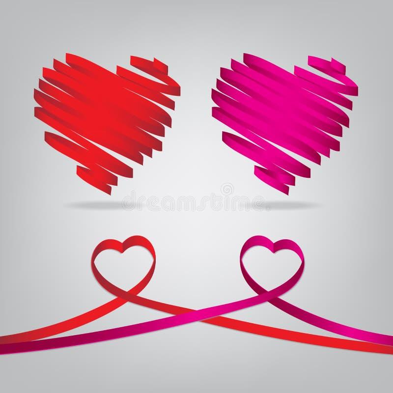 红色和桃红色缎光滑的丝带心脏 向量例证