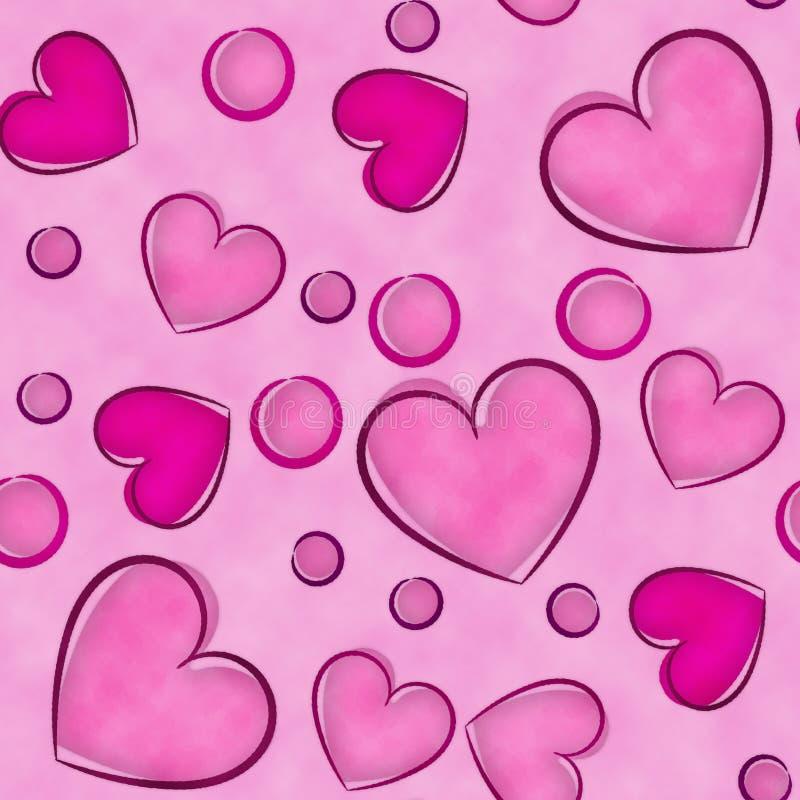 红色和桃红色watercolored心脏背景 免版税图库摄影