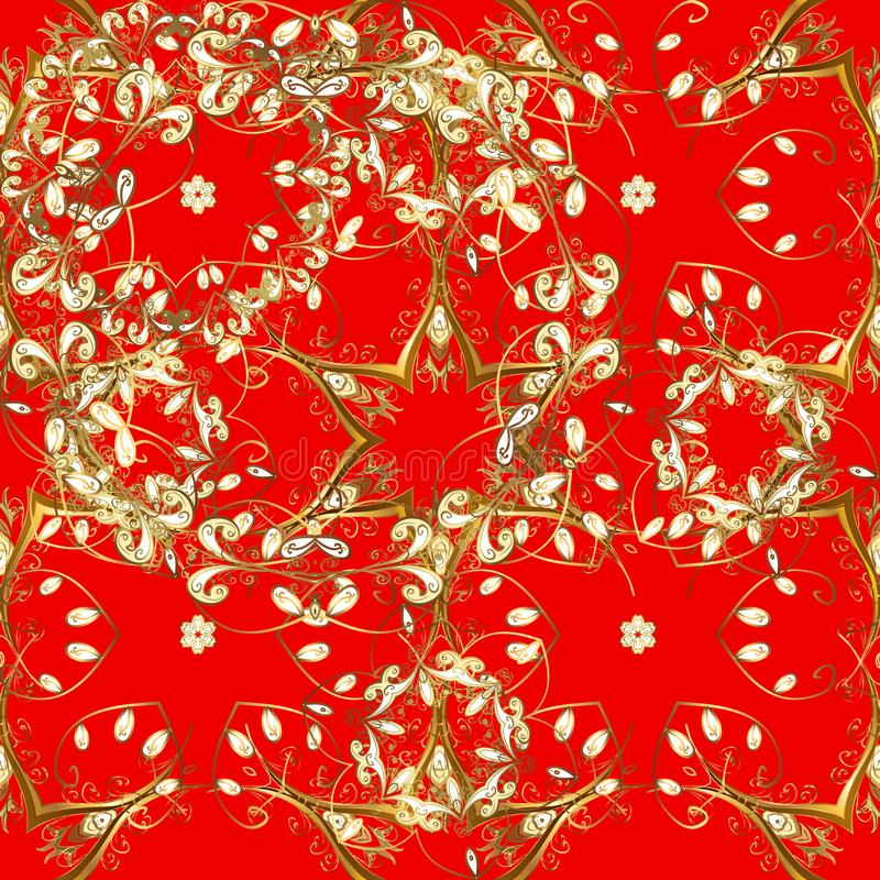 红色和棕色,带有金色元素 向量例证