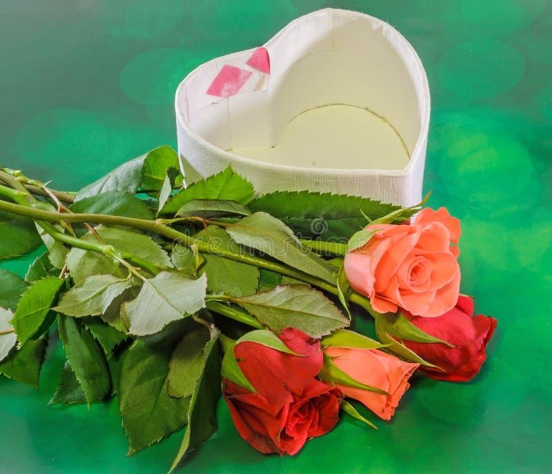 红色和橙色玫瑰开花与心脏形状箱子,情人节,绿灯bokeh背景,关闭 免版税库存照片