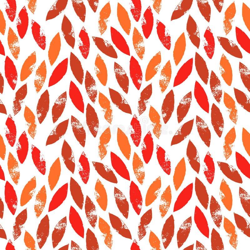 红色和橙色秋叶难看的东西无缝的样式,传染媒介 向量例证