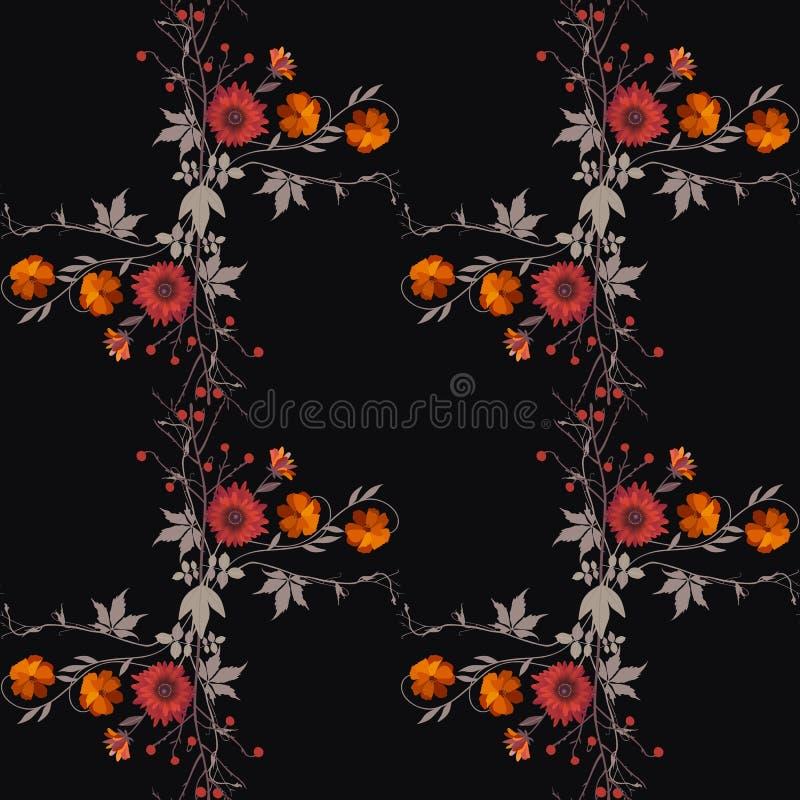 红色和橙色花秋天花束在黑背景的 模式无缝的向量 库存例证