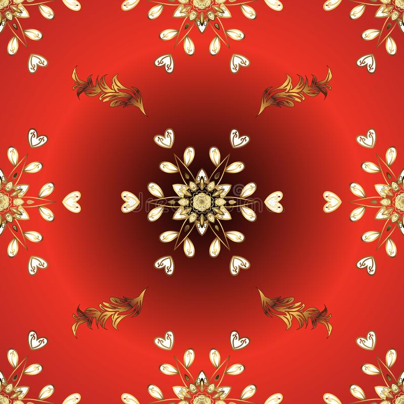 红色和橙色,带有金色元素 向量例证